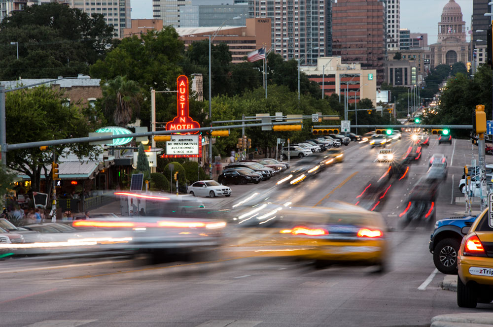 Traffic shoots up and down South Congress Avenue